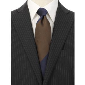 ネクタイ/レギュラータイ/メンズ/British Collection/JAPAN MADE/ストライプ×織柄ネクタイ ブラウン系|uktsc
