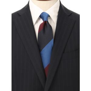 ネクタイ/レギュラータイ/メンズ/British Collection/JAPAN MADE/ストライプ×織柄ネクタイ ネイビー系 uktsc