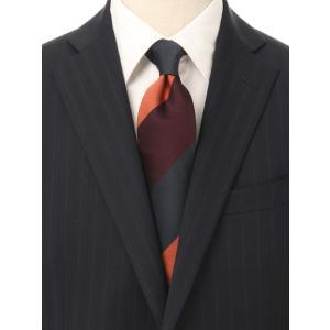 ネクタイ/レギュラータイ/メンズ/British Collection/JAPAN MADE/ストライプ×織柄ネクタイ オレンジ系 uktsc