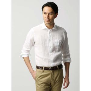 カジュアルシャツ/メンズ/ETONNE/ベルギーリネン ホリゾンタルカラーシャツ ホワイト|uktsc