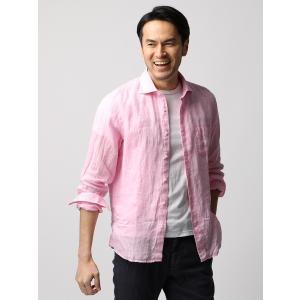 カジュアルシャツ/メンズ/ETONNE/ベルギーリネン ホリゾンタルカラーシャツ ピンク|uktsc