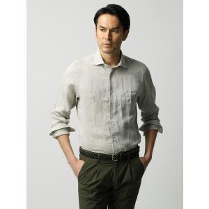 カジュアルシャツ/メンズ/ETONNE/ベルギーリネン ホリゾンタルカラーシャツ ライトカーキ|uktsc