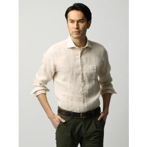 カジュアルシャツ/メンズ/ETONNE/ベルギーリネン ホリゾンタルカラーシャツ ベージュ|uktsc