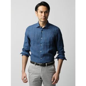 カジュアルシャツ/メンズ/ETONNE/ベルギーリネン ホリゾンタルカラーシャツ ネイビー|uktsc