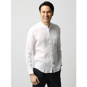 カジュアルシャツ/メンズ/ETONNE/ベルギーリネン バンドカラーシャツ ホワイト|uktsc