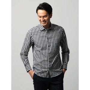 カジュアルシャツ/メンズ/JAPAN FABRIC/ETONNE/製品洗い リネンブレンドチェック柄ワイドカラーシャツ ネイビー×ホワイト|uktsc