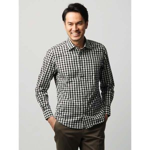 カジュアルシャツ/メンズ/JAPAN FABRIC/ETONNE/製品洗い リネンブレンドチェック柄ワイドカラーシャツ ブラック×ホワイト|uktsc