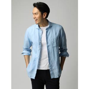 カジュアルシャツ/メンズ/ETONNE/製品洗いピュアリネン ホリゾンタルカラーシャツ/Fabric by Albini/ サックスブルー|uktsc