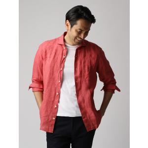 カジュアルシャツ/メンズ/ETONNE/製品洗いピュアリネン ホリゾンタルカラーシャツ/Fabric by Albini/ ピンク|uktsc