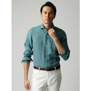 カジュアルシャツ/メンズ/ETONNE/製品洗いピュアリネン ホリゾンタルカラーシャツ/Fabric by Albini/ グリーン|uktsc