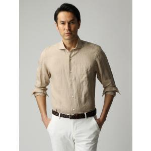 カジュアルシャツ/メンズ/ETONNE/製品洗いピュアリネン ホリゾンタルカラーシャツ/Fabric by Albini/ ベージュ|uktsc