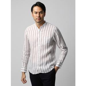 カジュアルシャツ/メンズ/ETONNE/製品洗いピュアリネン バンドカラーシャツ/THOMAS MASON/ ホワイト×ボルドー|uktsc