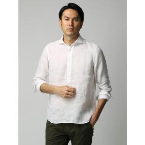 カジュアルシャツ/メンズ/ETONNE/製品洗いピュアリネン カプリシャツ/Fabric by Albini/ ホワイト|uktsc