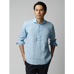 カジュアルシャツ/メンズ/ETONNE/製品洗いピュアリネン カプリシャツ/Fabric by Albini/ サックスブルー|uktsc