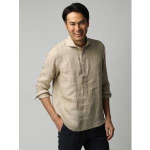 カジュアルシャツ/メンズ/ETONNE/製品洗いピュアリネン カプリシャツ/Fabric by Albini/ ベージュ|uktsc