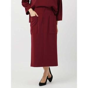 スーツ/レディース/セットアップ/通年/ハンドウォッシュ/Yangany/ダブルクロスストレッチ ポケット付きタイトスカート ワイン|uktsc