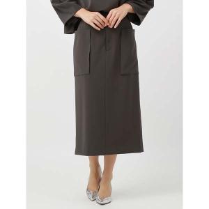 スーツ/レディース/セットアップ/通年/ハンドウォッシュ/Yangany/ダブルクロスストレッチ ポケット付きタイトスカート チャコールグレー|uktsc