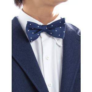 蝶ネクタイ/メンズ/FILO D'ORO/蝶ネクタイ/Fabric by ITALY/ ブルー×ホワイト/ドット uktsc