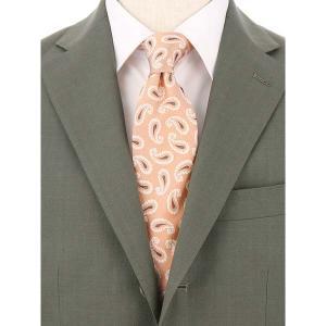 ネクタイ/レギュラータイ/メンズ/FILO D'ORO/ペイズリー柄ネクタイ/Fabric by ITALY/ サーモンピンク×クリーム×ブラウン|uktsc