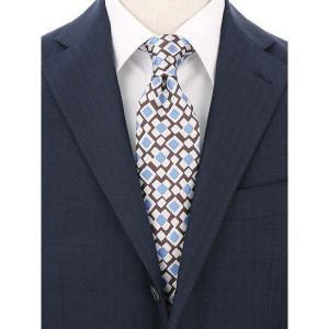 ネクタイ/レギュラータイ/メンズ/FILO D'ORO/ジオメトリック柄ネクタイ/Fabric by ITALY/ ブラウン×ライトグレー×ブルー|uktsc
