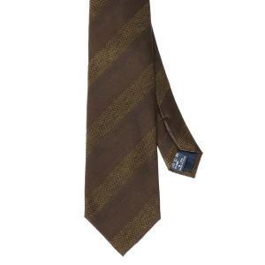 ネクタイ/レギュラータイ/メンズ/FILO D'ORO/ストライプ×織柄ネクタイ ブラウン系|uktsc