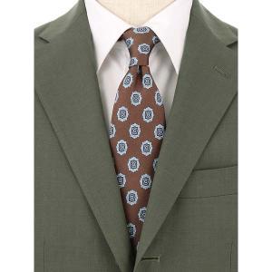 ネクタイ/レギュラータイ/メンズ/FILO D'ORO/小紋柄ネクタイ ブラウン×ブルー×ホワイト|uktsc