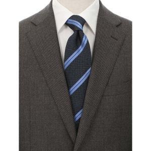 ネクタイ/レギュラータイ/メンズ/FILO D'ORO/ストライプ×織柄ネクタイ ネイビー系 uktsc