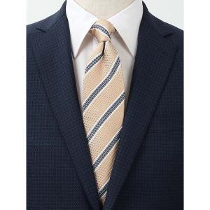 ネクタイ/レギュラータイ/メンズ/FILO D'ORO/ストライプ柄ネクタイ/Fabric by ITALY/ ベージュ×ネイビー×ホワイト uktsc