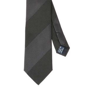 ネクタイ/レギュラータイ/メンズ/FILO D'ORO/ストライプ×織柄ネクタイ グレー系 uktsc