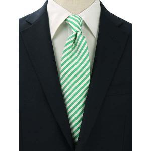 ネクタイ/レギュラータイ/メンズ/FILO D'ORO/ストライプ柄ネクタイ/Fabric by ITALY/ グリーン×ホワイト uktsc