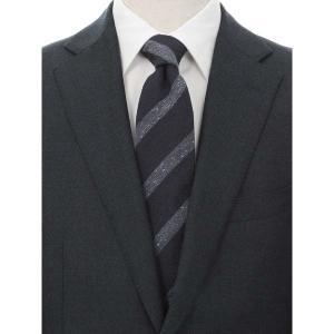 ネクタイ/レギュラータイ/メンズ/FILO D'ORO/ストライプ×織柄ネクタイ/Fabric by ITALY/ ネイビー系 uktsc