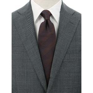 ネクタイ/レギュラータイ/メンズ/FILO D'ORO/シャドーストライプ×織柄ネクタイ/Fabric by ITALY/ ブラウン系|uktsc