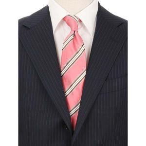 ネクタイ/レギュラータイ/メンズ/FILO D'ORO/ストライプ×織柄ネクタイ/Fabric by ITALY/ ピンク系|uktsc