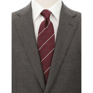 ネクタイ/レギュラータイ/メンズ/FILO D'ORO/ストライプ×織柄ネクタイ/Fabric by ITALY/ レッド系 uktsc