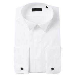 ドレスシャツ/長袖/メンズ/CERIMONIA/ダブルカフス&ウイングカラードレスシャツ 無地/ ホワイト|uktsc