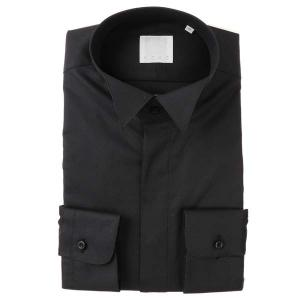 ドレスシャツ/長袖/メンズ/N.G.A.C・チェルモニア/ウイングカラードレスシャツ 織柄 ブラック|uktsc
