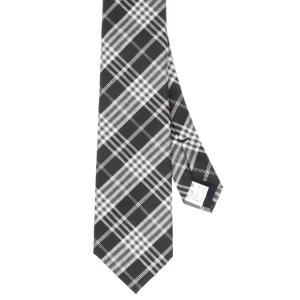 ネクタイ/レギュラータイ/メンズ/チェック×織柄ネクタイ ブラック系|uktsc