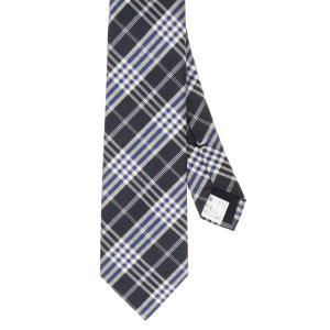 ネクタイ/レギュラータイ/メンズ/チェック×織柄ネクタイ ネイビー系|uktsc