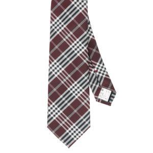ネクタイ/レギュラータイ/メンズ/チェック×織柄ネクタイ レッド系|uktsc