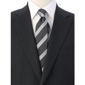 ネクタイ/レギュラータイ/メンズ/ストライプ×チェック柄クレリックネクタイ ブラック系|uktsc