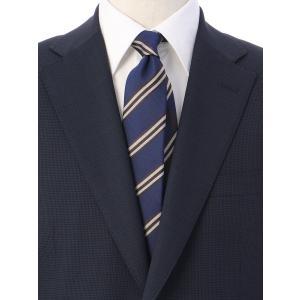 ネクタイ/レギュラータイ/メンズ/ストライプ×チェック柄クレリックネクタイ ネイビー系|uktsc