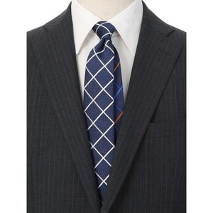 ネクタイ/レギュラータイ/メンズ/チェック柄 クレリックネクタイ ブルー系|uktsc