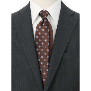 ネクタイ/レギュラータイ/メンズ/小紋×織柄クレリックネクタイ ブラウン系|uktsc