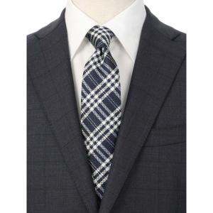 ネクタイ/レギュラータイ/メンズ/チェック×小紋柄ツインネクタイ ネイビー系|uktsc