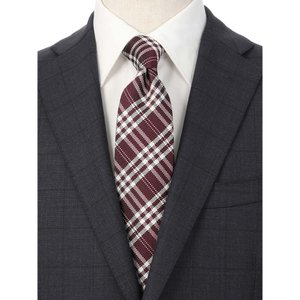 ネクタイ/レギュラータイ/メンズ/チェック×小紋柄ツインネクタイ レッド系|uktsc