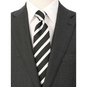ネクタイ/レギュラータイ/メンズ/ストライプ×織柄 ツインネクタイ ブラック系|uktsc