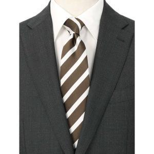 ネクタイ/レギュラータイ/メンズ/ストライプ×織柄 ツインネクタイ ブラウン系|uktsc