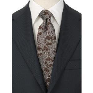 ネクタイ/レギュラータイ/メンズ/JAPAN MADE/ペイズリー×織柄ネクタイ ブラウン系|uktsc