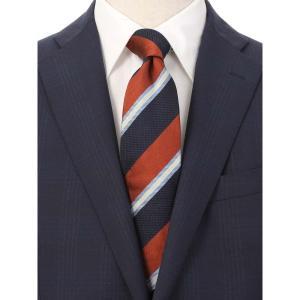 ネクタイ/レギュラータイ/メンズ/JAPAN MADE/コットンシルク ストライプ×織柄ネクタイ レッド系 uktsc