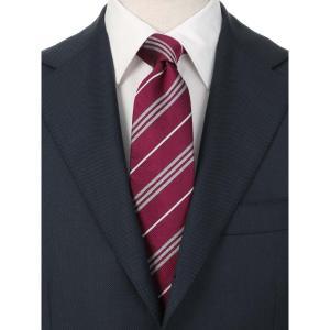 ネクタイ/レギュラータイ/メンズ/JAPAN MADE/ストライプ×織柄ネクタイ レッド系 uktsc